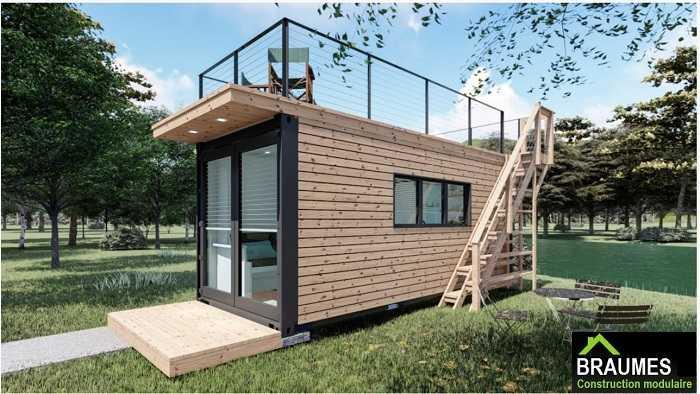 maison container avec toit terrasse