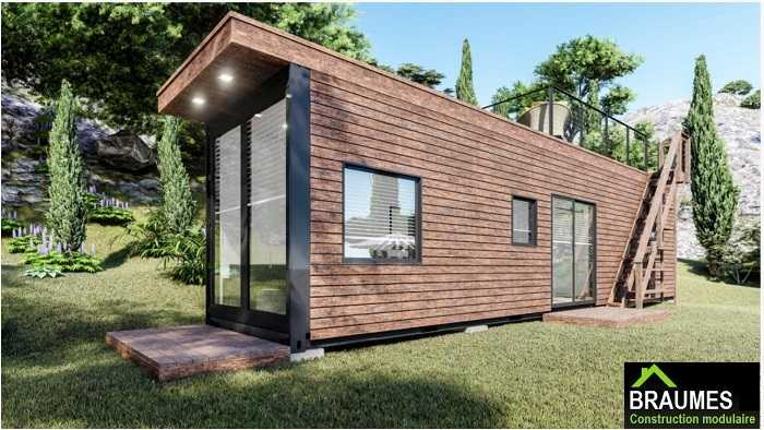 maison container luxe avec toiture terrasse